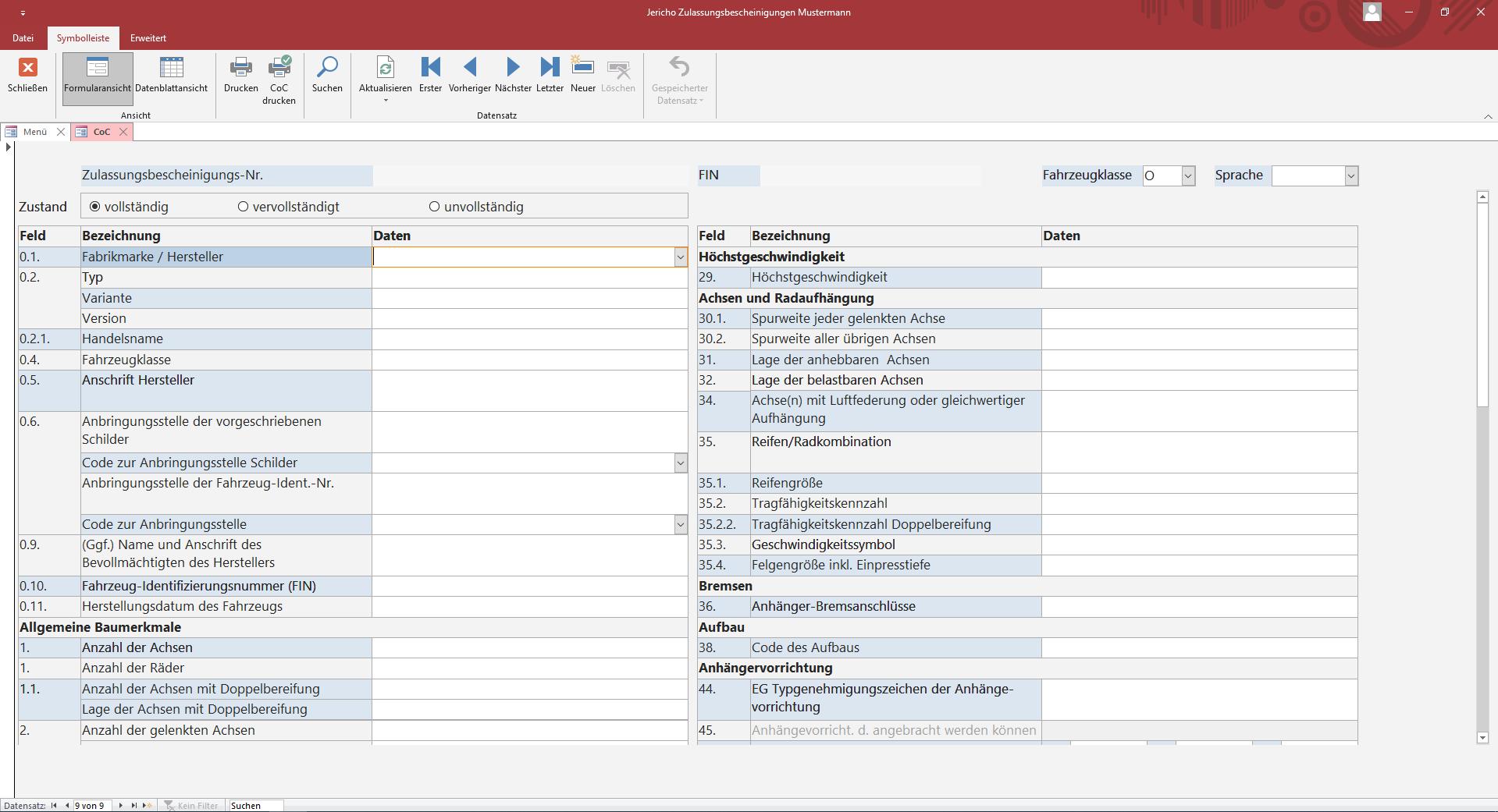 Softwarelösung zum Erstellen von Zulassungsbescheinigungen